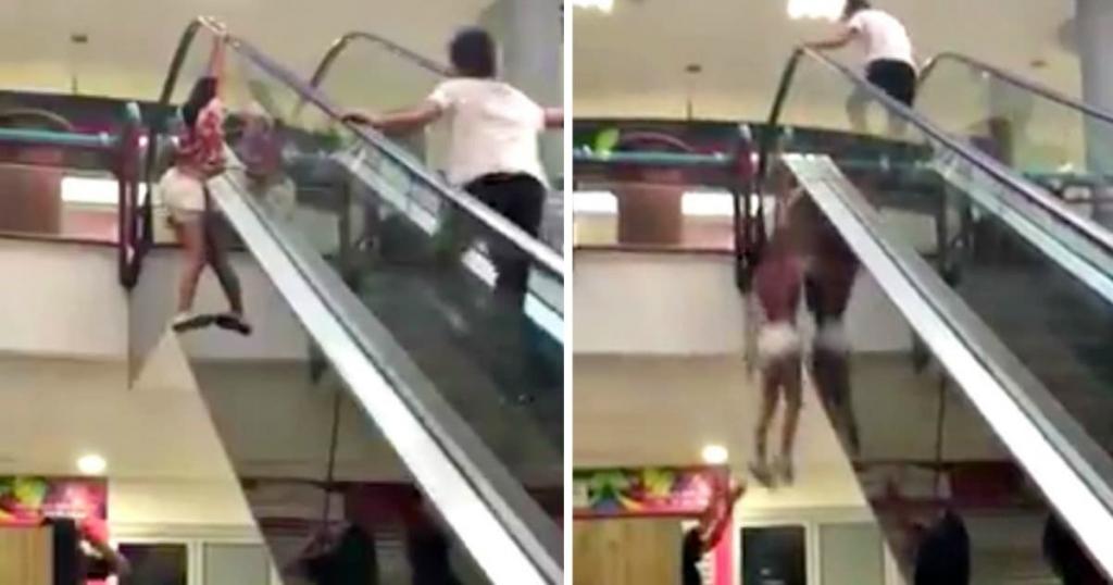 Girl Falls Off Escalator After Doing Risky Challenge - Elite Readers